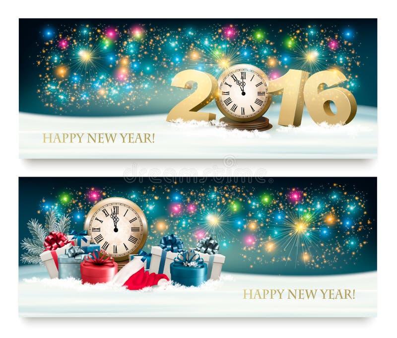 Bakgrund för lyckligt nytt år med gåvor vektor illustrationer