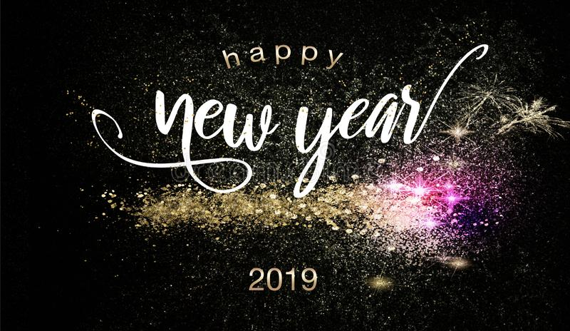 Bakgrund 2019 för lyckligt nytt år med tomtebloss stock illustrationer