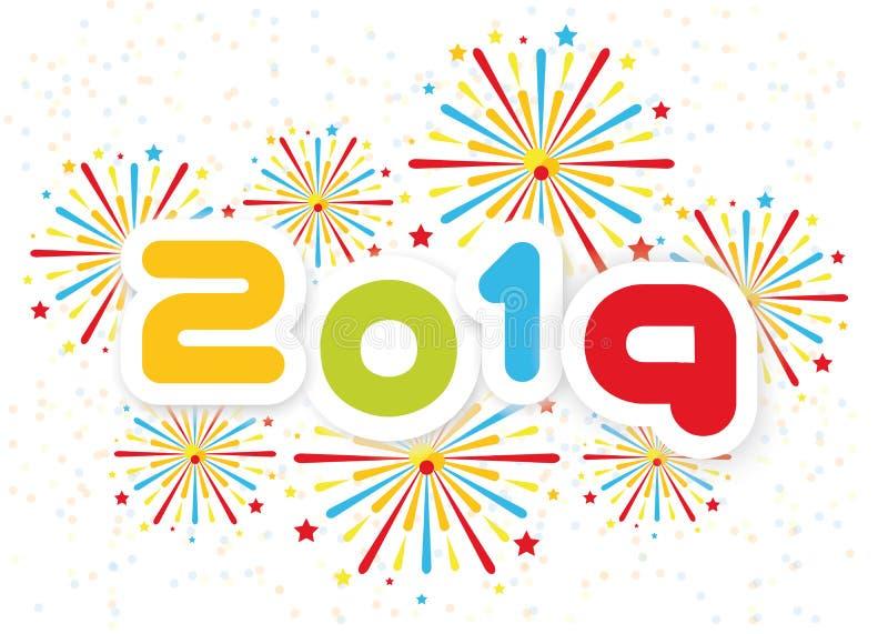 2019 bakgrund för lyckligt nytt år med upplagan för fyrverkerier andra royaltyfri illustrationer