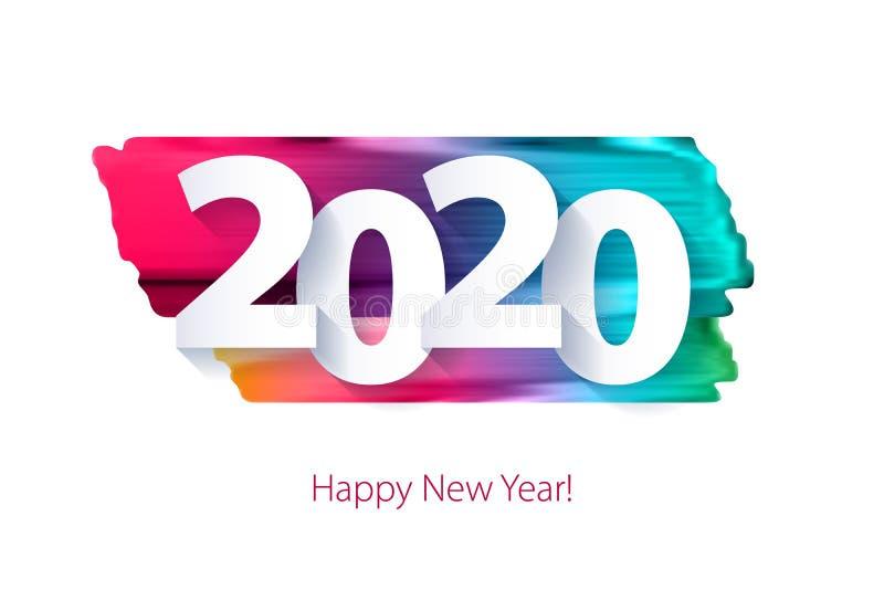2020 bakgrund för lyckligt nytt år Säsongsbetonad mall för hälsningkort stock illustrationer