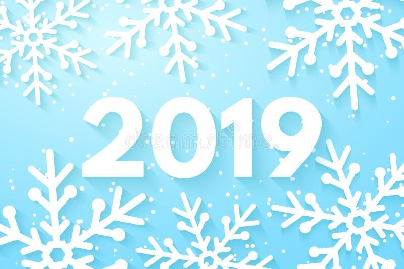 Bakgrund 2019 för lyckligt nytt år Snöflingor som klipps ut ur papper Glad jul och lyckligt nytt år skriva för mall för designbra stock illustrationer