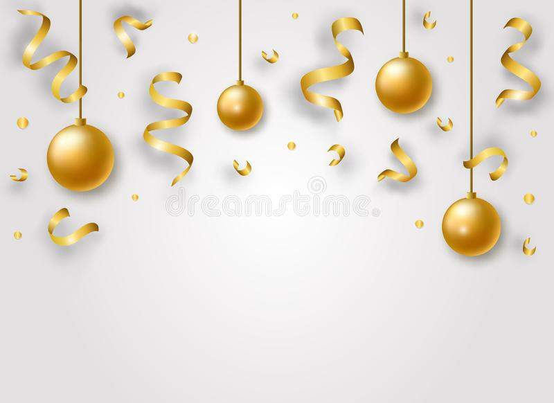 Bakgrund för lyckligt nytt år för vektor med guld- skinande band, bollar och konfettier royaltyfri illustrationer