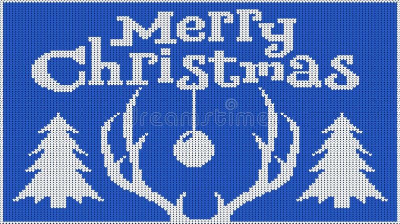 Bakgrund för lynnet för nytt år glad jul Stucken bild pullover Horn av hjortar och en julgran Skapar värme royaltyfri illustrationer