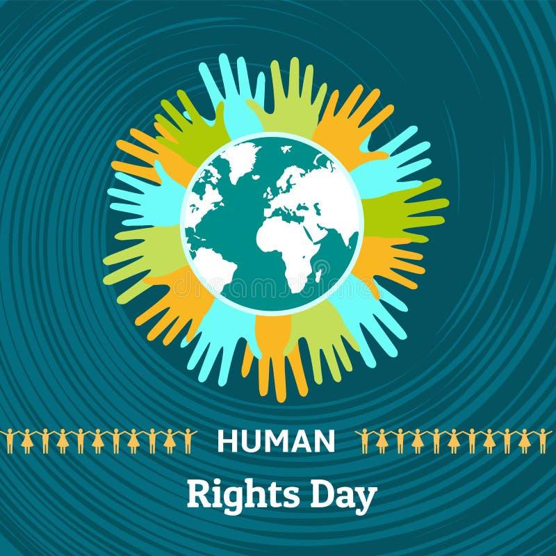Bakgrund för mänsklig rättighetdagbegrepp, plan stil royaltyfri illustrationer