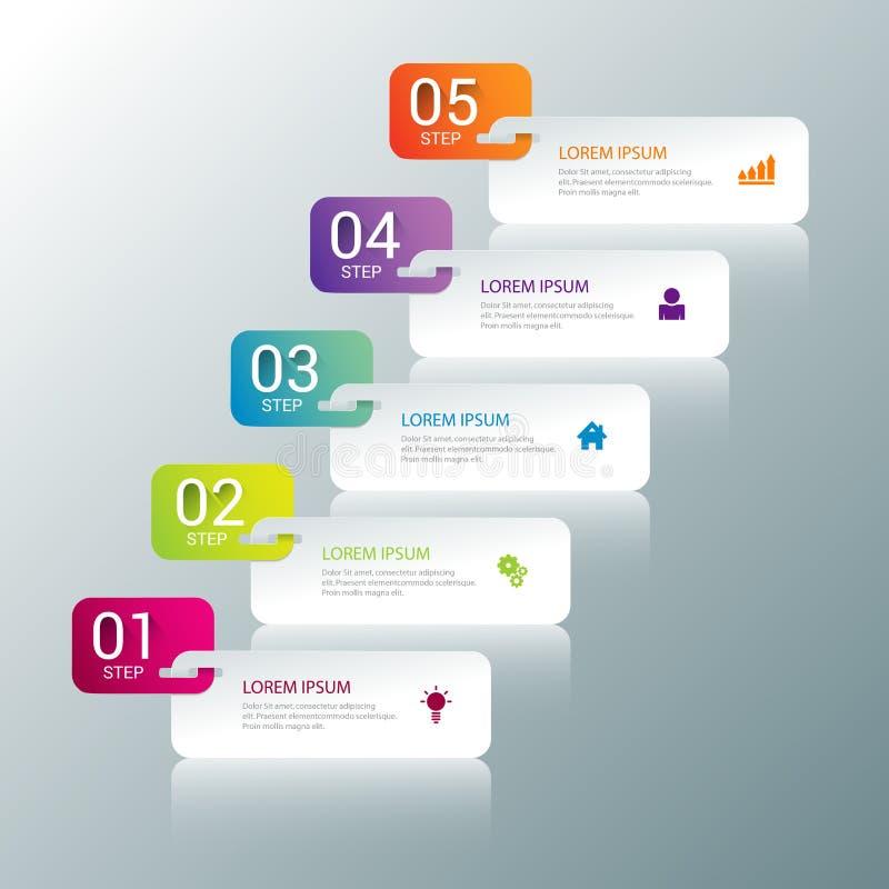 bakgrund för mall för modell för infographics för 5 momentprocessetiketter stock illustrationer