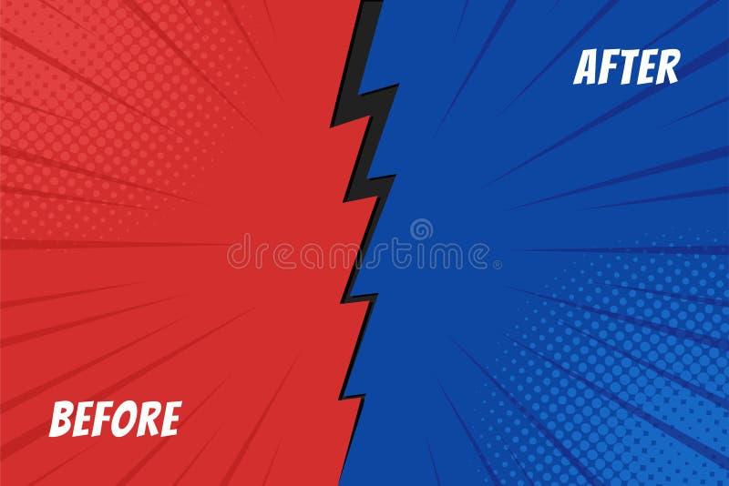 Bakgrund för mall före och efter Jämförelsekort med tomt utrymme vektor stock illustrationer