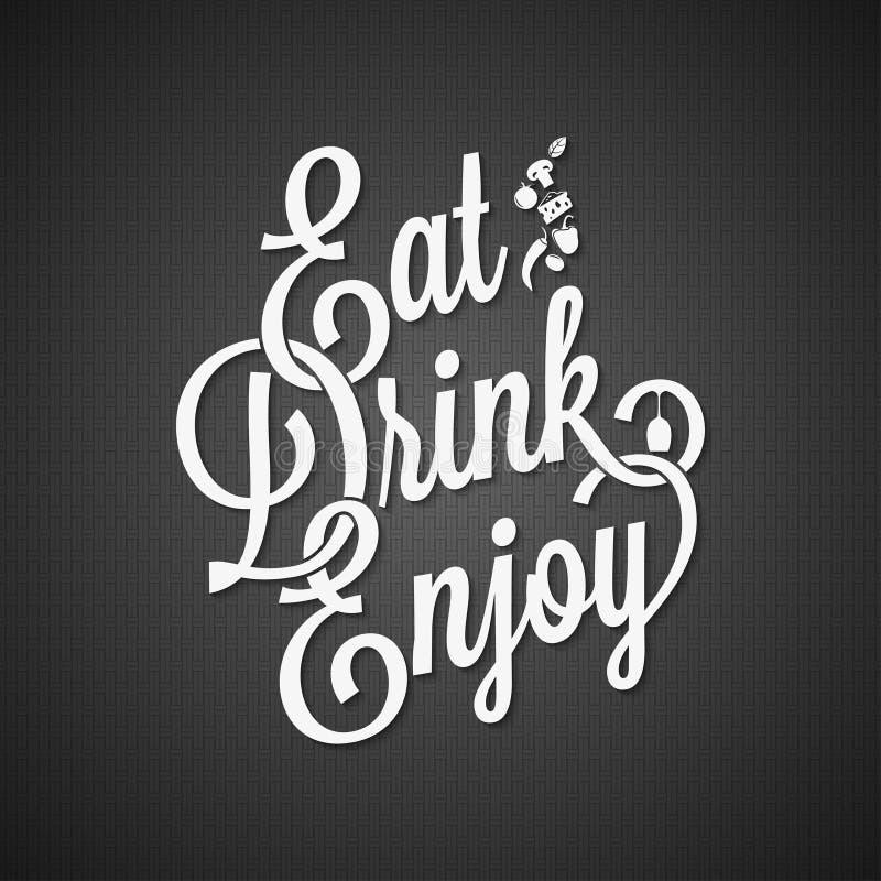 Bakgrund för mat- och drinktappningbokstäver royaltyfri illustrationer