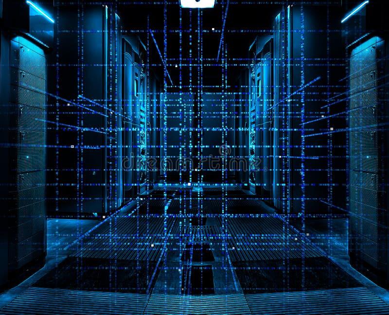 Bakgrund för matris Digital för binär kod - tolkning 3D av ett vetenskapligt nätverk för binär kod för teknologidata på symmetris vektor illustrationer