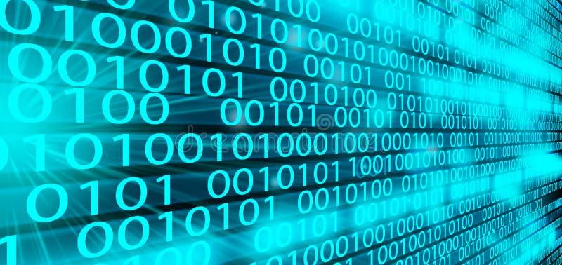 Bakgrund för matris för teknologi för binär kod för Digitala data, futuristisk binär kod för dataflodconectivity som programmerar arkivbild