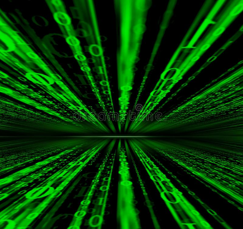Bakgrund för matris för teknologi för binär kod för Digitala data, futuristisk binär kod för dataflodconectivity som programmerar arkivfoto