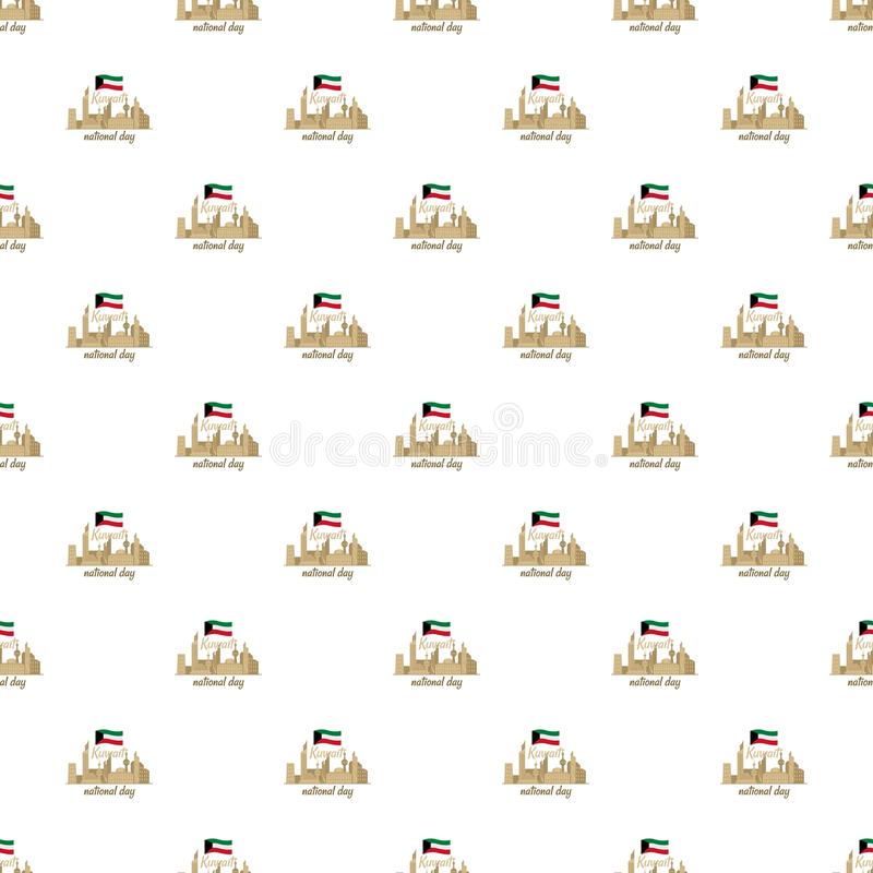 Bakgrund för medborgareKuwait dag, lägenhetstil stock illustrationer