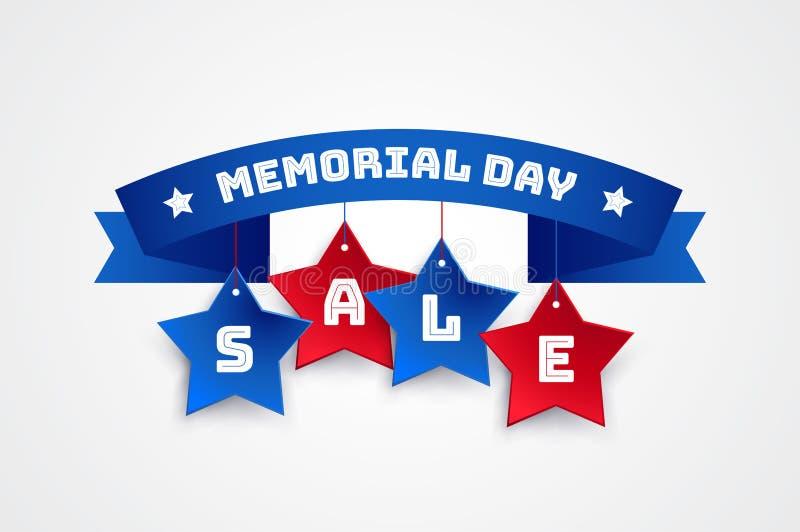 Bakgrund för Memorial Day Sale bandvektor vektor illustrationer