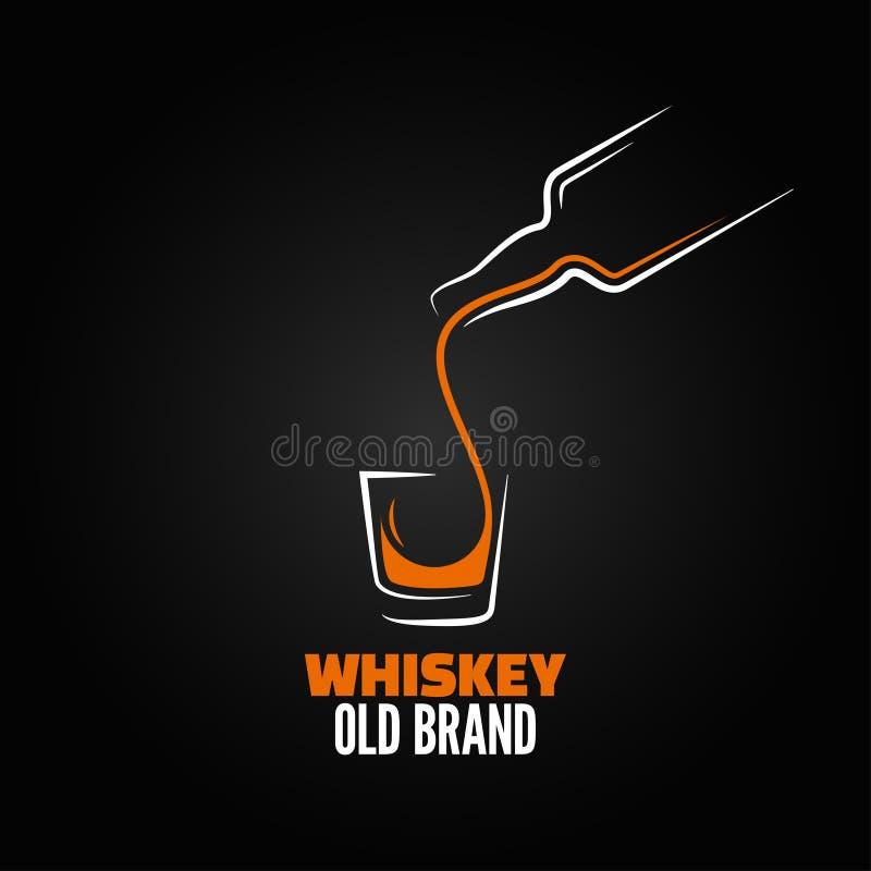 Bakgrund för meny för färgstänk för whiskyglasflaskaskott royaltyfri illustrationer