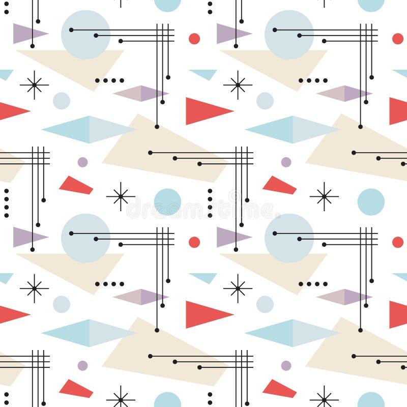 bakgrund för Mitt--århundrade modern konstvektor seamless abstrakt geometrisk modell Dekorativ prydnad i retro tappningdesignstil vektor illustrationer