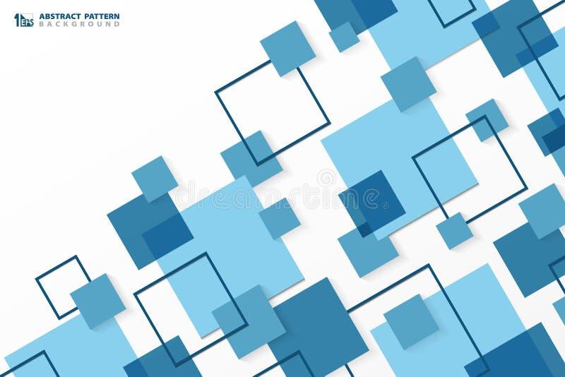 Bakgrund för modell för abstrakt fyrkant för teknologi modern blå geometrisk Du kan använda för annonsen, affischen, den företags stock illustrationer