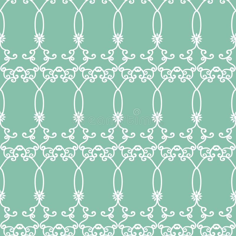 Bakgrund för modell för arabesques för blå gräsplan för vektor sömlös royaltyfri illustrationer