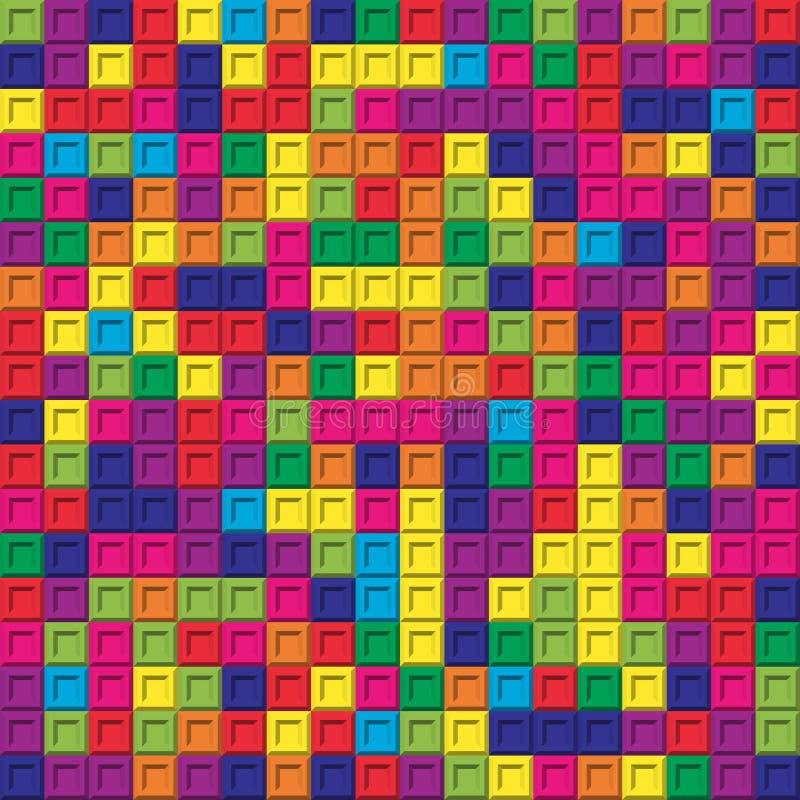 Bakgrund för modell för färgrik fyrkantig tegelstenmosaik sömlös royaltyfri illustrationer