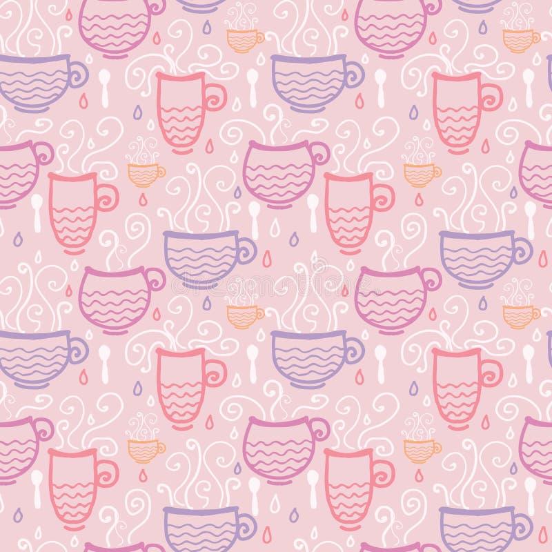 Bakgrund för modell för koppar för rosa te sömlös royaltyfri illustrationer