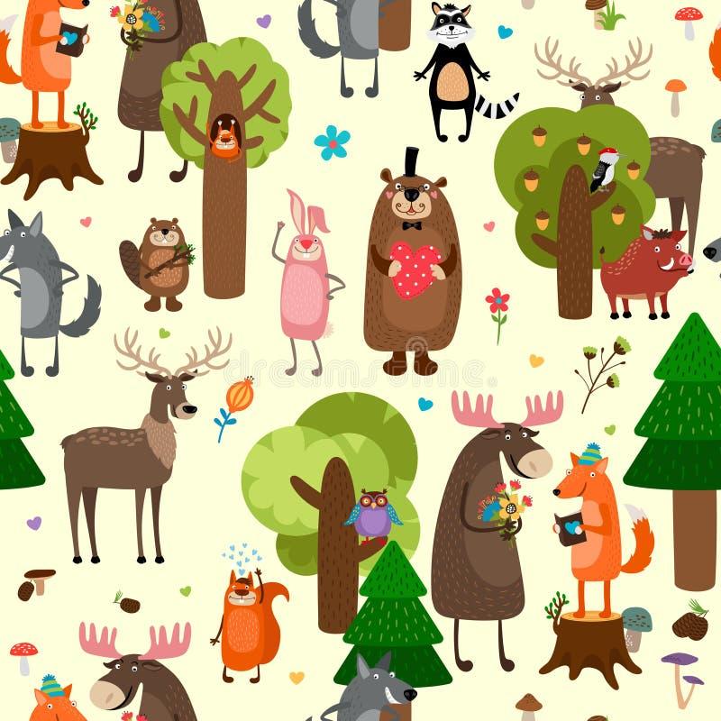 Bakgrund för modell för lyckliga skogdjur sömlös royaltyfri illustrationer