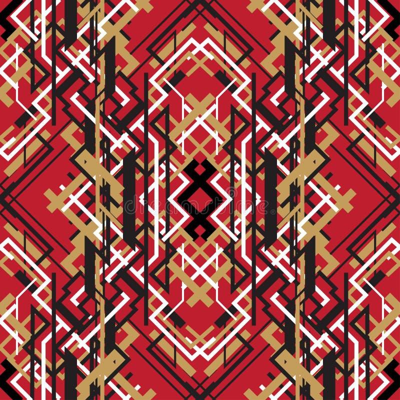 Bakgrund för modell för moderiktig linjär design för stil röd sömlös royaltyfri illustrationer