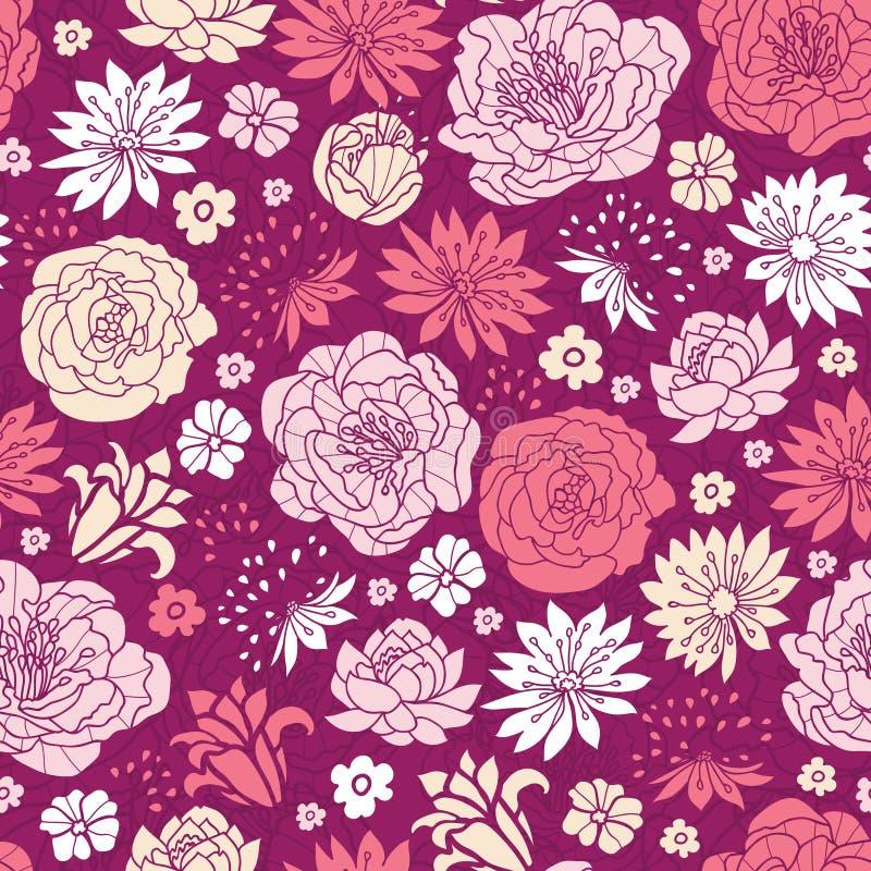 Bakgrund för modell för purpurfärgade rosa färgblommakonturer sömlös vektor illustrationer