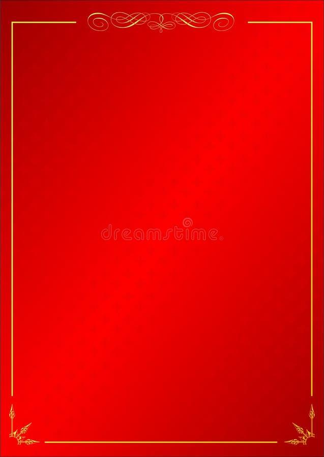Bakgrund för modell för röd tappningram dekorativ royaltyfri illustrationer