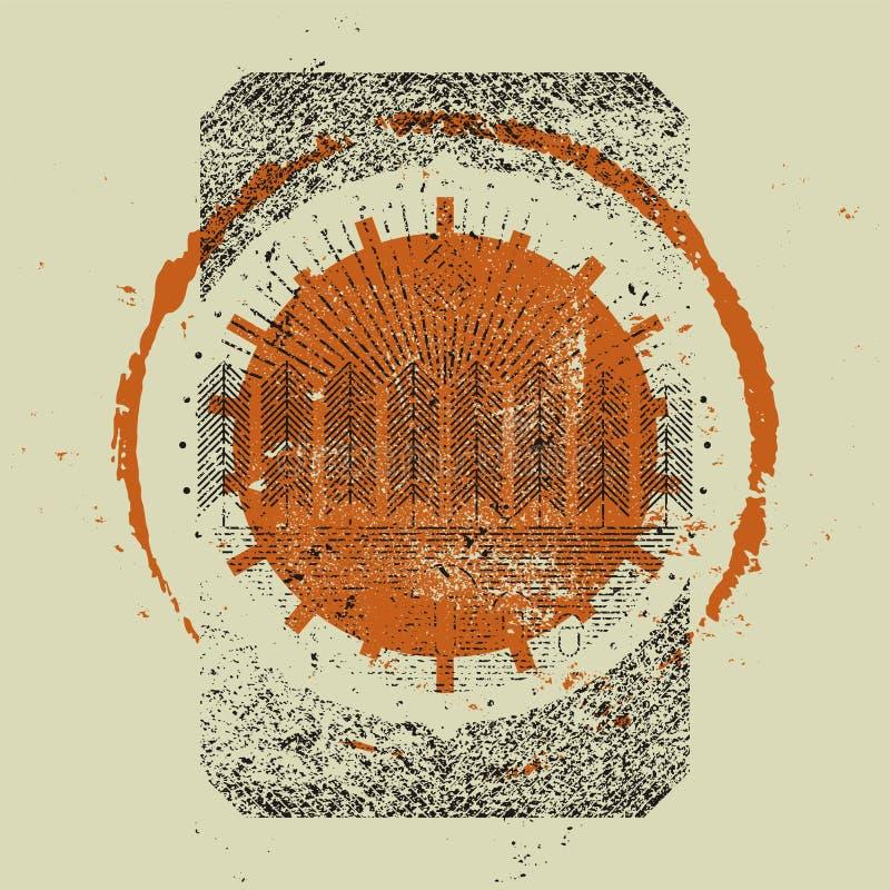 Bakgrund för modell för grunge för stil för tappning för skogturism typografisk retro illustration vektor illustrationer