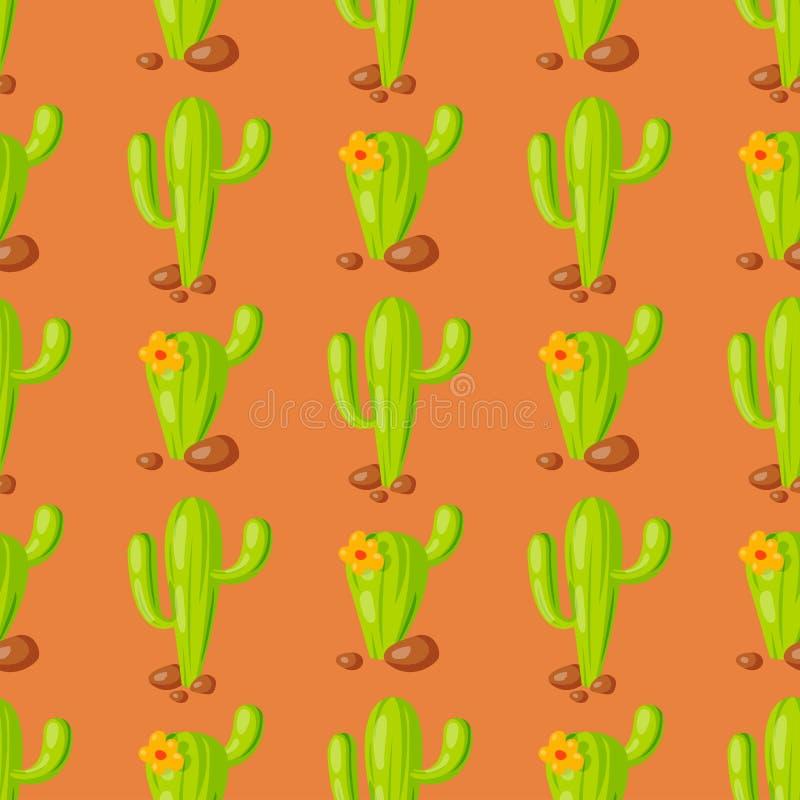 Bakgrund för modell för illustration för vektor för tropisk växt för kaktus för natursuckulenthem sömlös stock illustrationer