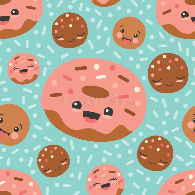 Bakgrund för modell för lyckliga Donuts för vektorturkos sömlös stock illustrationer