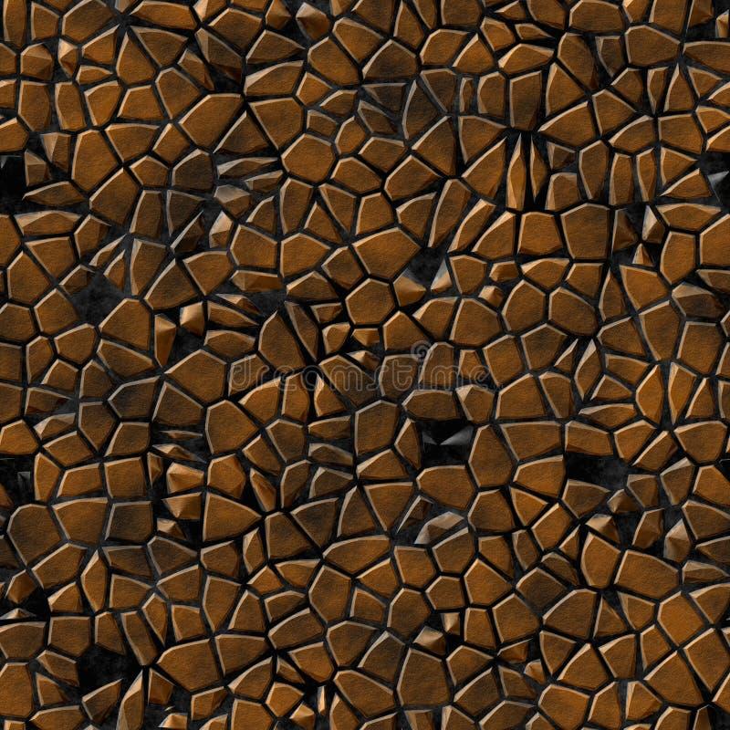 Bakgrund för modell för mosaik för kullerstenstenar ojämn sömlös - bruna kopparnaturliga kulöra stycken för trottoar på svart stock illustrationer