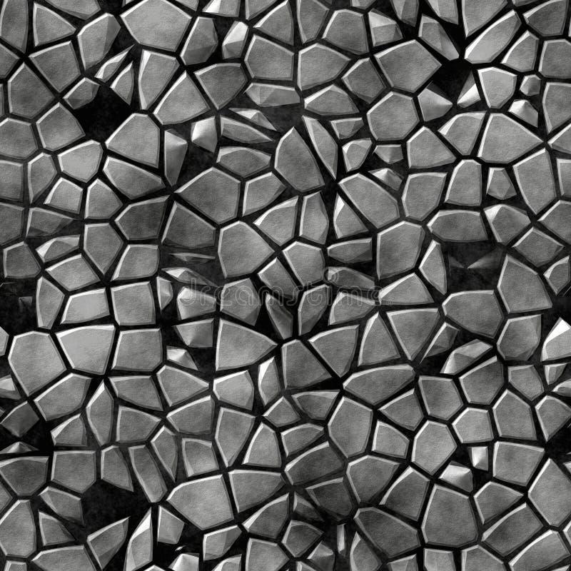 Bakgrund för modell för mosaik för kullerstenstenar ojämn sömlös - gråa naturliga kulöra stycken för trottoar på svart konkret jo vektor illustrationer