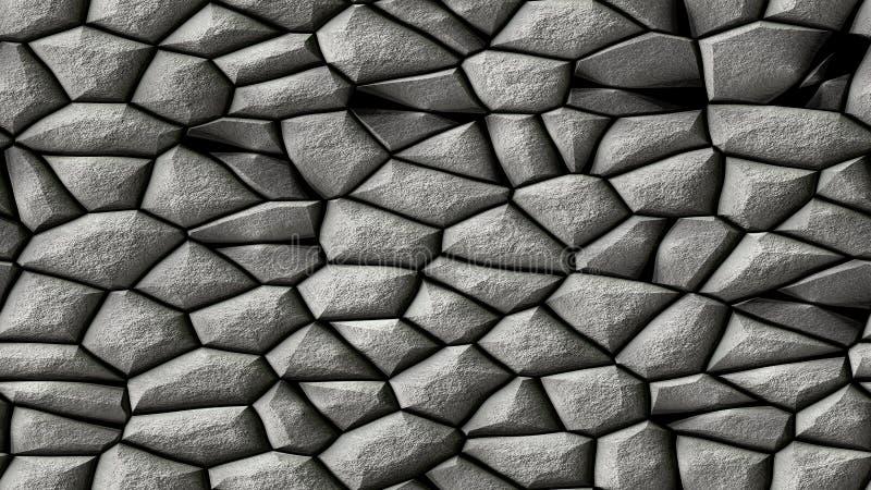 Bakgrund för modell för mosaik för kullerstenstenar ojämn sömlös - gråa naturliga kulöra stycken för trottoar vektor illustrationer