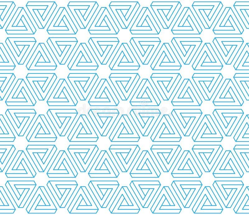 bakgrund för modell för omöjliga trianglar för illusion 3d sömlös vektor illustrationer
