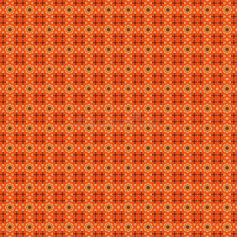Bakgrund för modell för orange blommamosaik detaljerad sömlös texturerad stock illustrationer