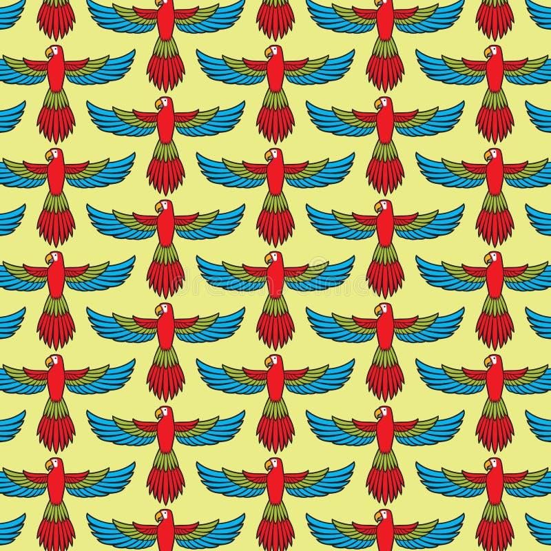 Bakgrund för modell för papegojaflygvektor stock illustrationer