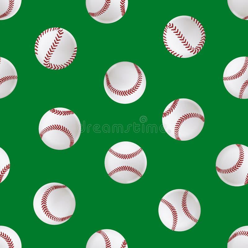 Bakgrund för modell för realistisk detaljerad läderboll för baseball 3d sömlös vektor stock illustrationer