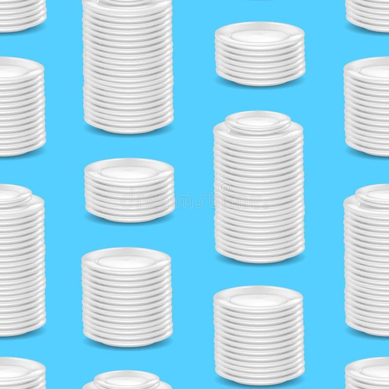 Bakgrund för modell för realistisk detaljerad för mall 3d Dishware för mellanrum vit sömlös vektor royaltyfri illustrationer