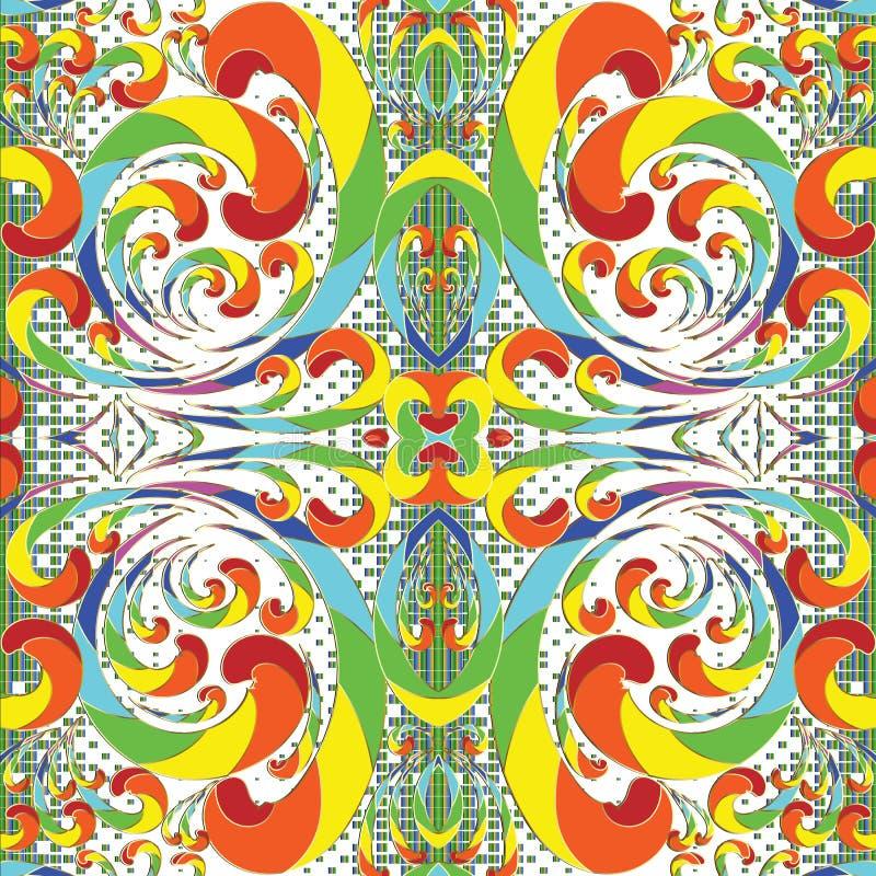 Bakgrund för modell för regnbågefärgabstrakt begrepp färgrik sömlös vektor illustrationer