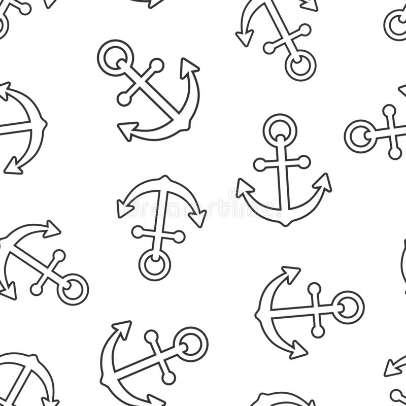 Bakgrund för modell för symbol för fartygankartecken sömlös Maritim utrustningvektorillustration p vektor illustrationer