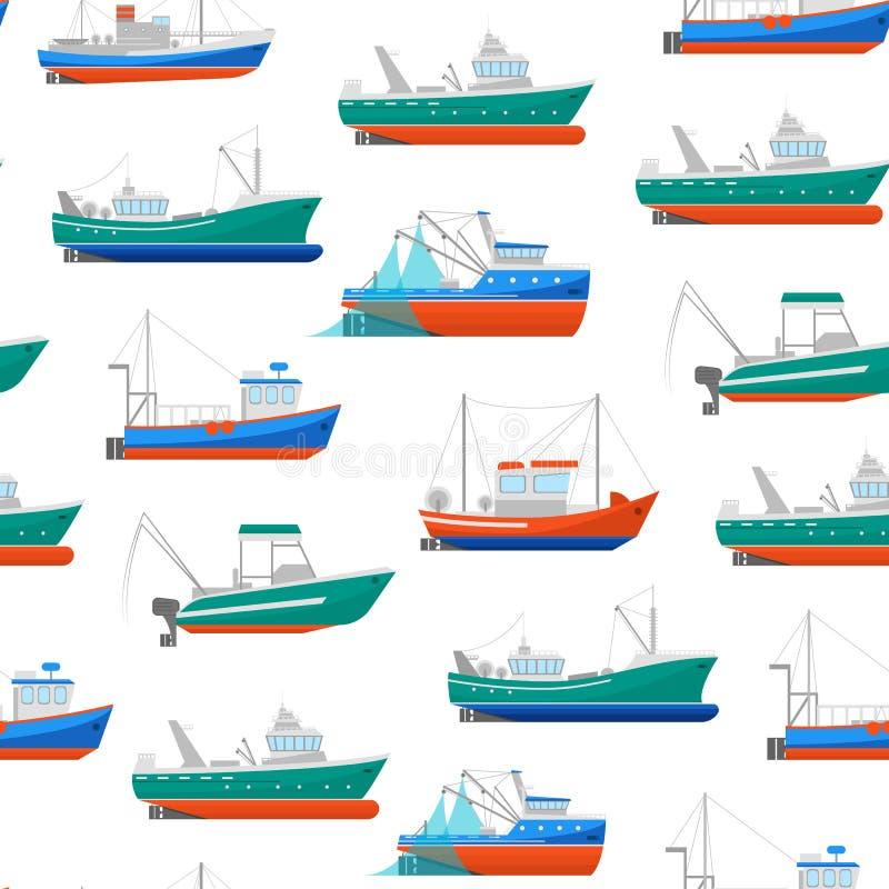 Bakgrund för modell för tecknad filmfiskebåtar sömlös vektor stock illustrationer