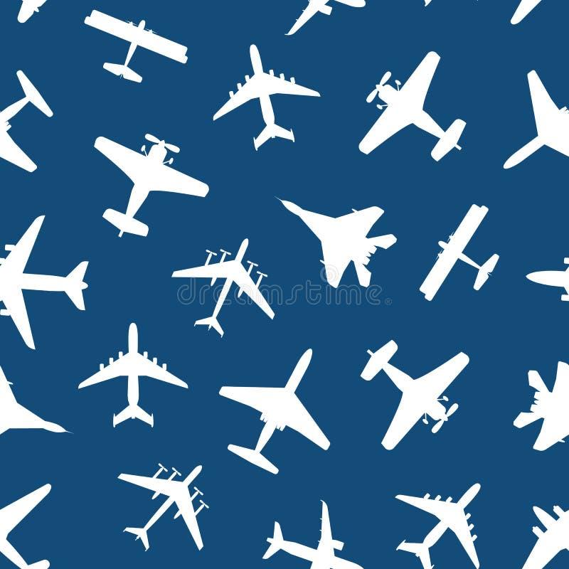 Bakgrund för modell för tecknad filmkonturflygplan sömlös vektor royaltyfri illustrationer