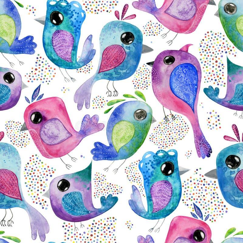 Bakgrund för modell för vattenfärghandattraktion sömlös med fåglar stock illustrationer