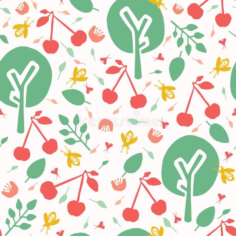 Bakgrund för modell för vektor för fruktträdgård för körsbärsrött träd sömlös Den drog handen kastade rött körsbärpapper som ut k vektor illustrationer