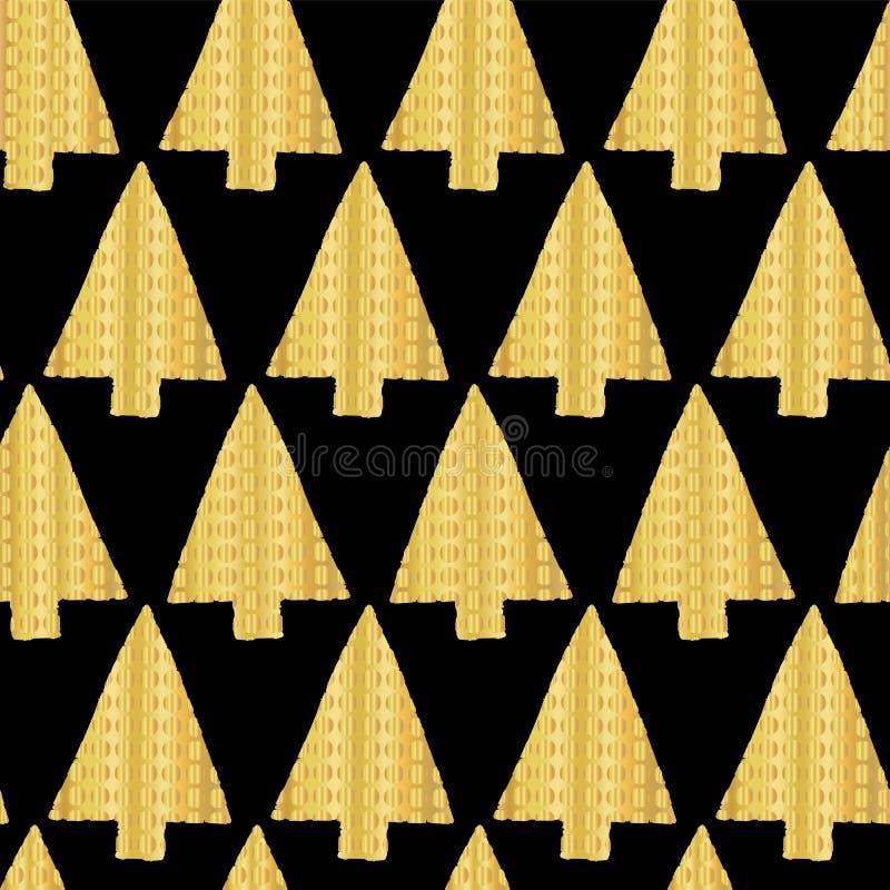 Bakgrund för modell för vektor för guld- folie för julgran sömlös Skinande guld- texturerade triangeljulgranar på svart bakgrund stock illustrationer