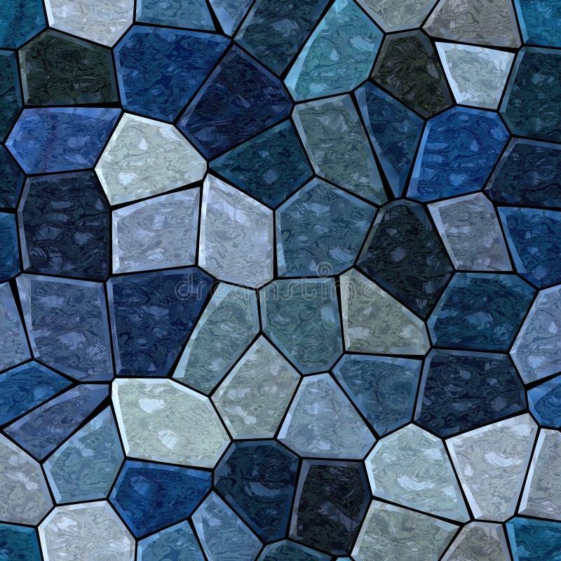 Bakgrund för modell för yttersidamarmormosaik sömlös med svart grout - mörka safirblått, kritiserar grå färger, grå färger, marin vektor illustrationer