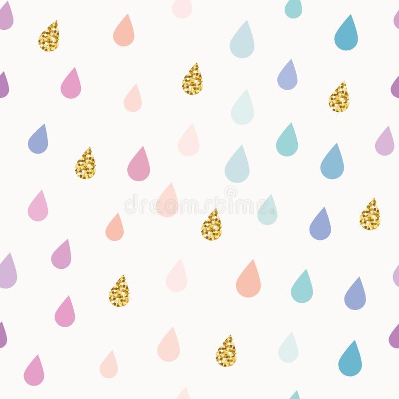 Bakgrund för modellen för vattenfärgdroppar blänker sömlös med guld beståndsdelar vektor illustrationer