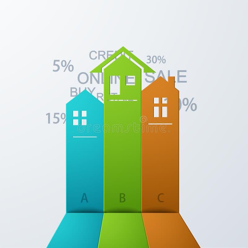Bakgrund för modern fastighet för vektor infographic stock illustrationer
