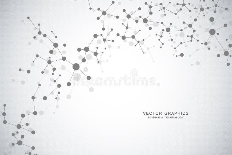 Bakgrund för molekylär struktur Genetisk och vetenskapsforskning vektor illustrationer