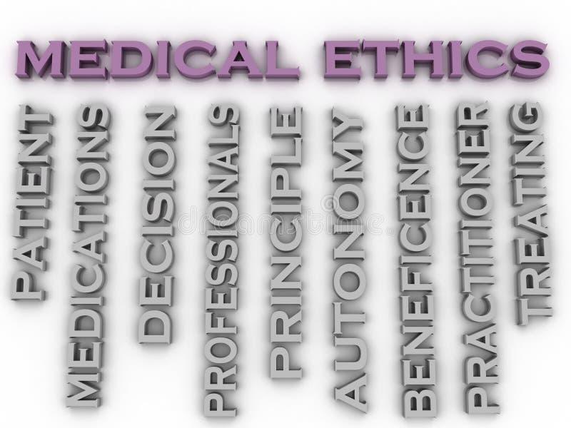 bakgrund för moln för ord för begrepp för frågor för medicinska etik för bild 3d stock illustrationer