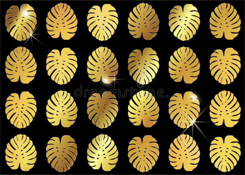 Bakgrund för Monstera guld- modedesign Sömlös modell för vektor med guld- tropiska sidor Skinande Monstera lämnar textur stock illustrationer
